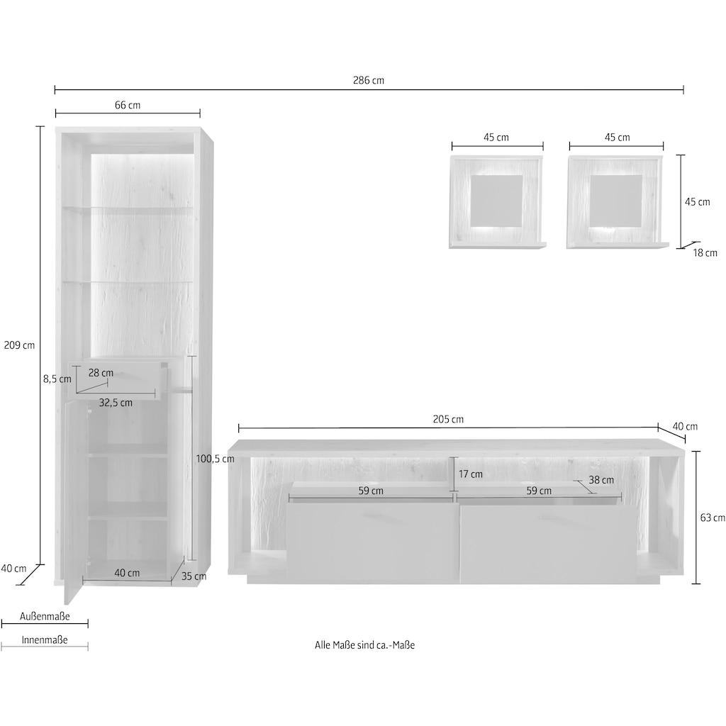 MCA furniture Wohnwand »Lizzano«, (Set, 4 St.), im modernen Landhausstil mit 3-D Rückwand, wahlweise mit Beleuchtung
