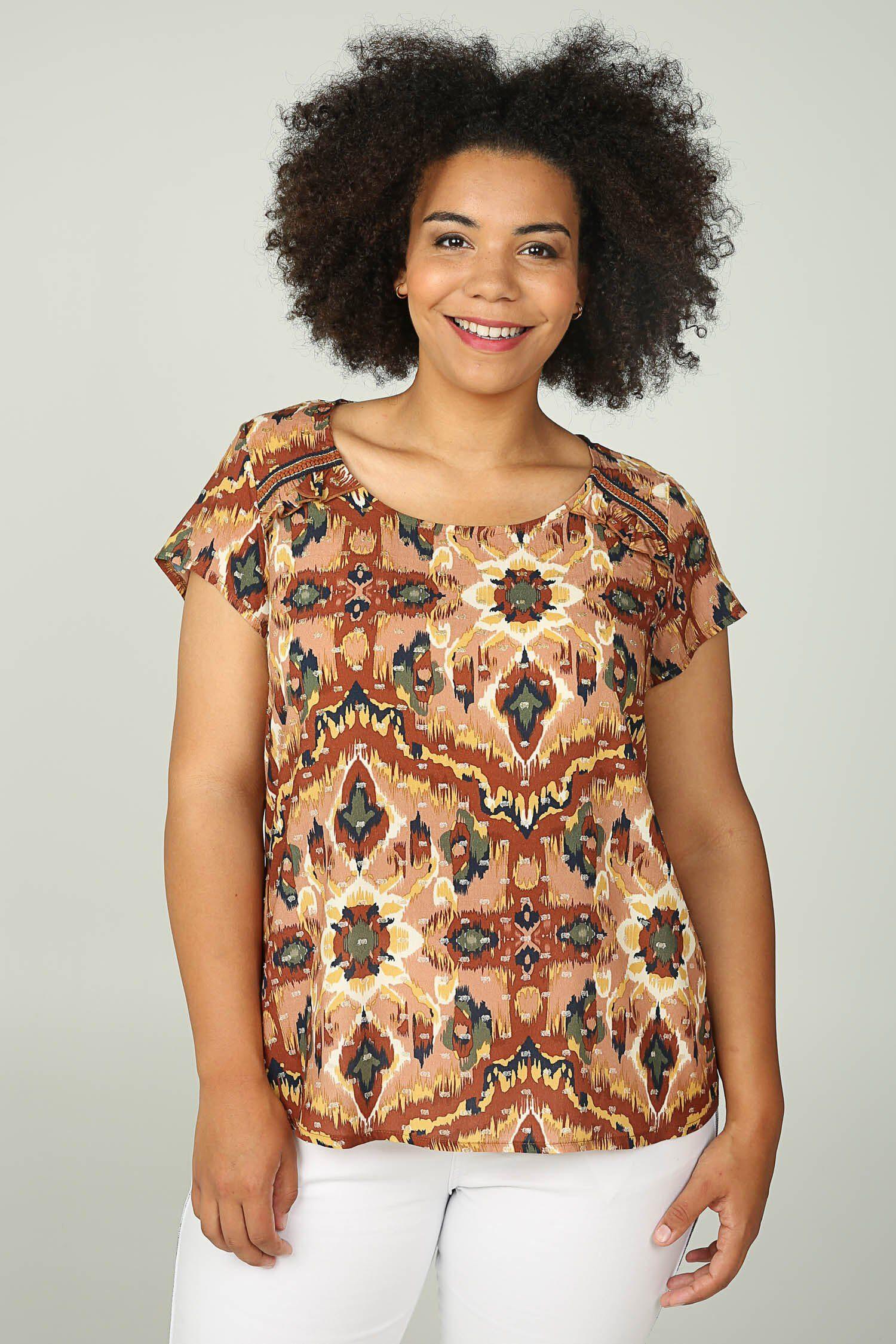 Paprika Druckbluse Bluse mit Print im Barock-Stil und attraktiven Tupfen