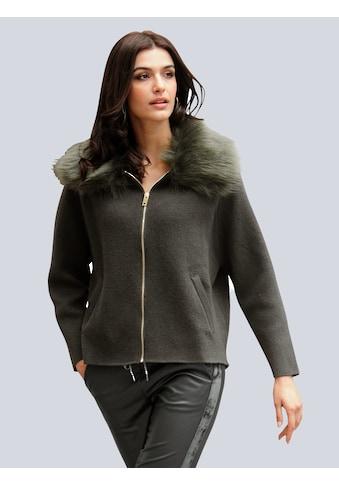 Alba Moda Strickjacke, mit Kunstfellkragen kaufen