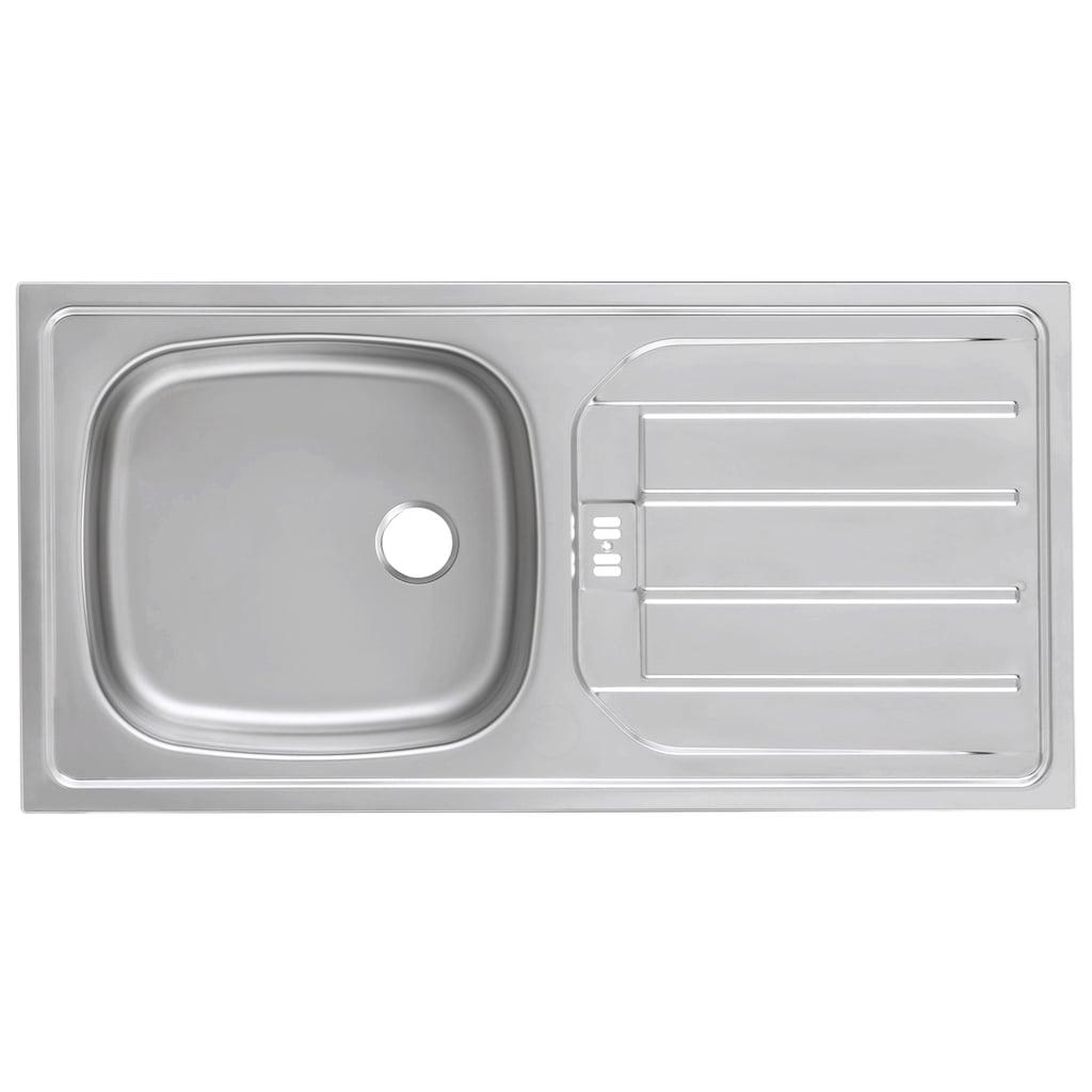 HELD MÖBEL Spülenschrank »Tulsa«, 110 cm breit, inkl. Tür/Sockel für Einbaugeschirrspüler, schwarzer Metallgriff, hochwertige MDF Front, inkl. Einbauspüle aus Edelstahl