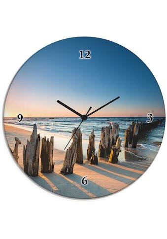 Artland Wanduhr »Glasuhr rund Sonnenuntergang Strand Wellenbrecher« kaufen