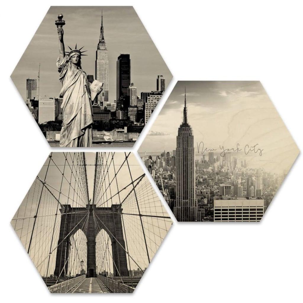 Wall-Art Mehrteilige Bilder »Impression New York Collage«, (Set, 3 St.)