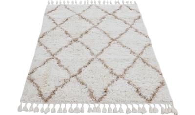 carpetfine Hochflor-Teppich »Eddy«, rechteckig, 30 mm Höhe, mit Fransen, Wohnzimmer kaufen