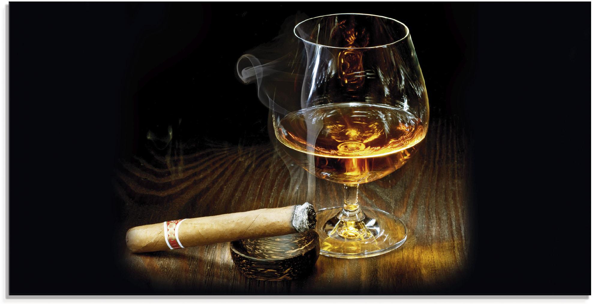 Artland Glasbild Zigarre und Cognac, Zigarren, (1 St.) braun Glasbilder Bilder Bilderrahmen Wohnaccessoires
