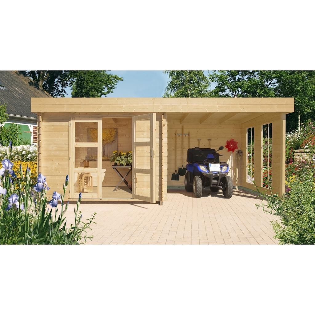 Kiehn-Holz Set: Gartenhaus »Lütjensee 2«, BxT: 430x233 cm, Anbaudach, Seiten- und Rückwand, Fußboden