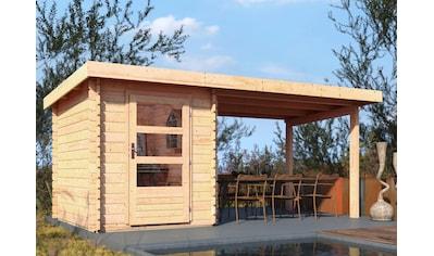 WOODFEELING Set: Gartenhaus »Bastrup 1«, BxT: 509x256 cm, mit Anbaudach kaufen
