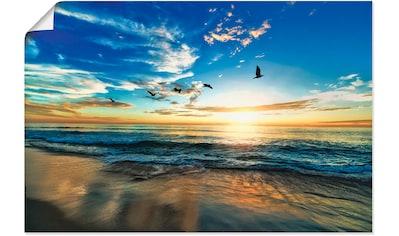 Artland Wandbild »Strand Möwen Meer Sonnenuntergang«, Sonnenaufgang & -untergang, (1... kaufen