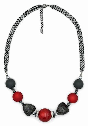 J.Jayz Collier »mehrreihig, mit Perlen in grau und rot« kaufen