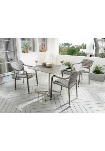 Destiny Essgruppe »Triest«, (4 tlg.), 3 Stühle, stapelbar, Tisch 80x80 cm, Alu/Polyrattan kaufen