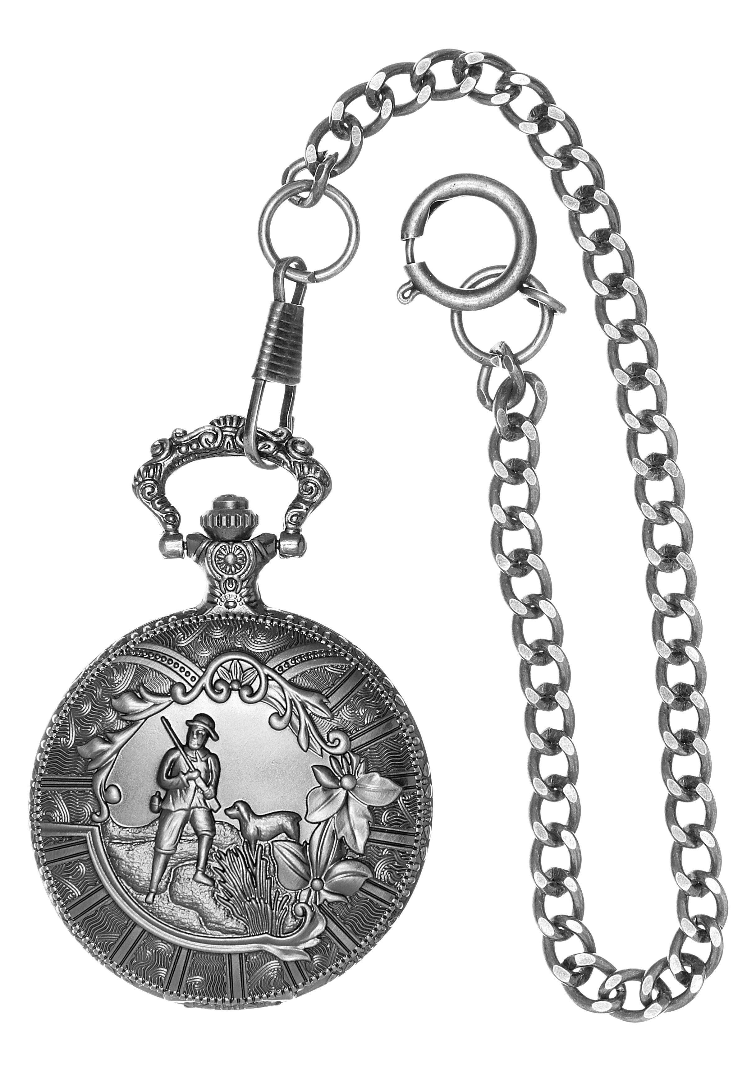 Country Line Trachtentaschenuhr Herren mit Kette aus Edelstahl Herrenmode/Schmuck & Accessoires/Uhren/Taschenuhren