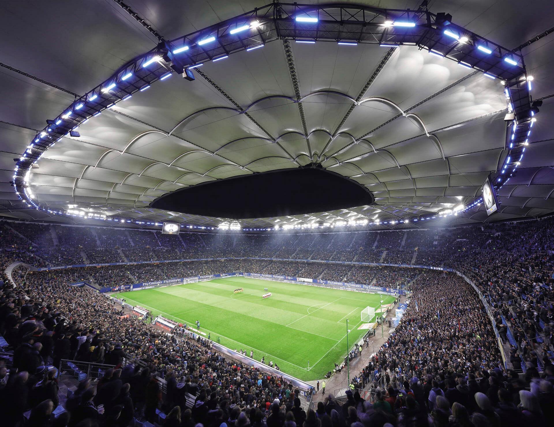 Fototapete Hamburger SV im Stadion bei Nacht 336/260 cm | Baumarkt > Malern und Tapezieren > Tapeten | Bunt
