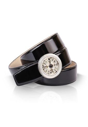 Anthoni Crown Ledergürtel, mit drehendem Kronen-Kreuz, hochglänzende Lack-Optik kaufen