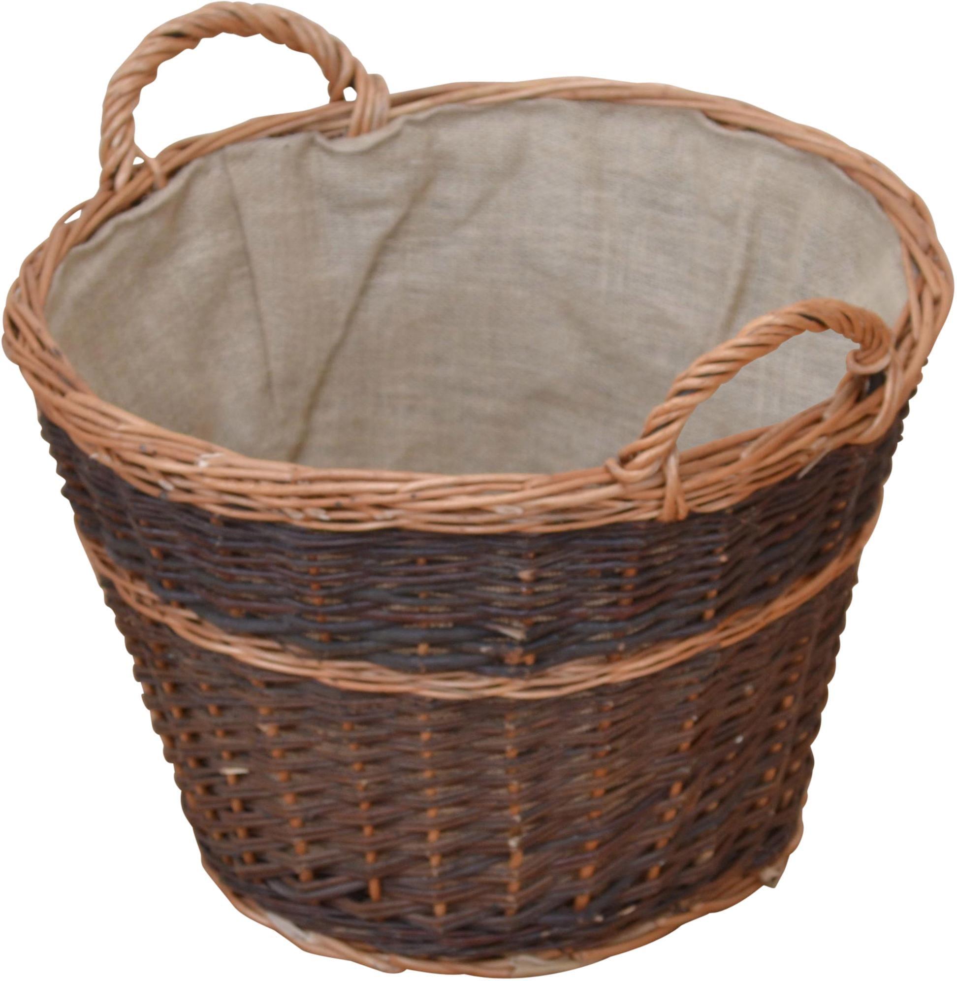 Kaminholzkorb, aus ungeschälter Vollweide braun Körbe Aufbewahrung Ordnung Wohnaccessoires Kaminholzkorb
