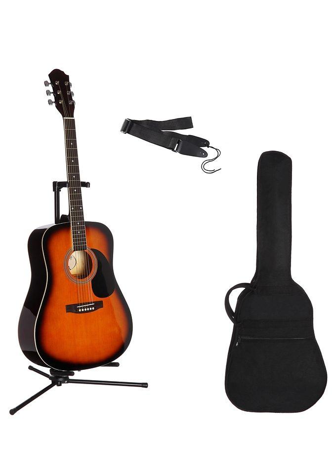 Gitarrenset Westerngitarre, 4/4, mit Tasche und Gitarrengurt braun Audio SOFORT LIEFERBARE Technik