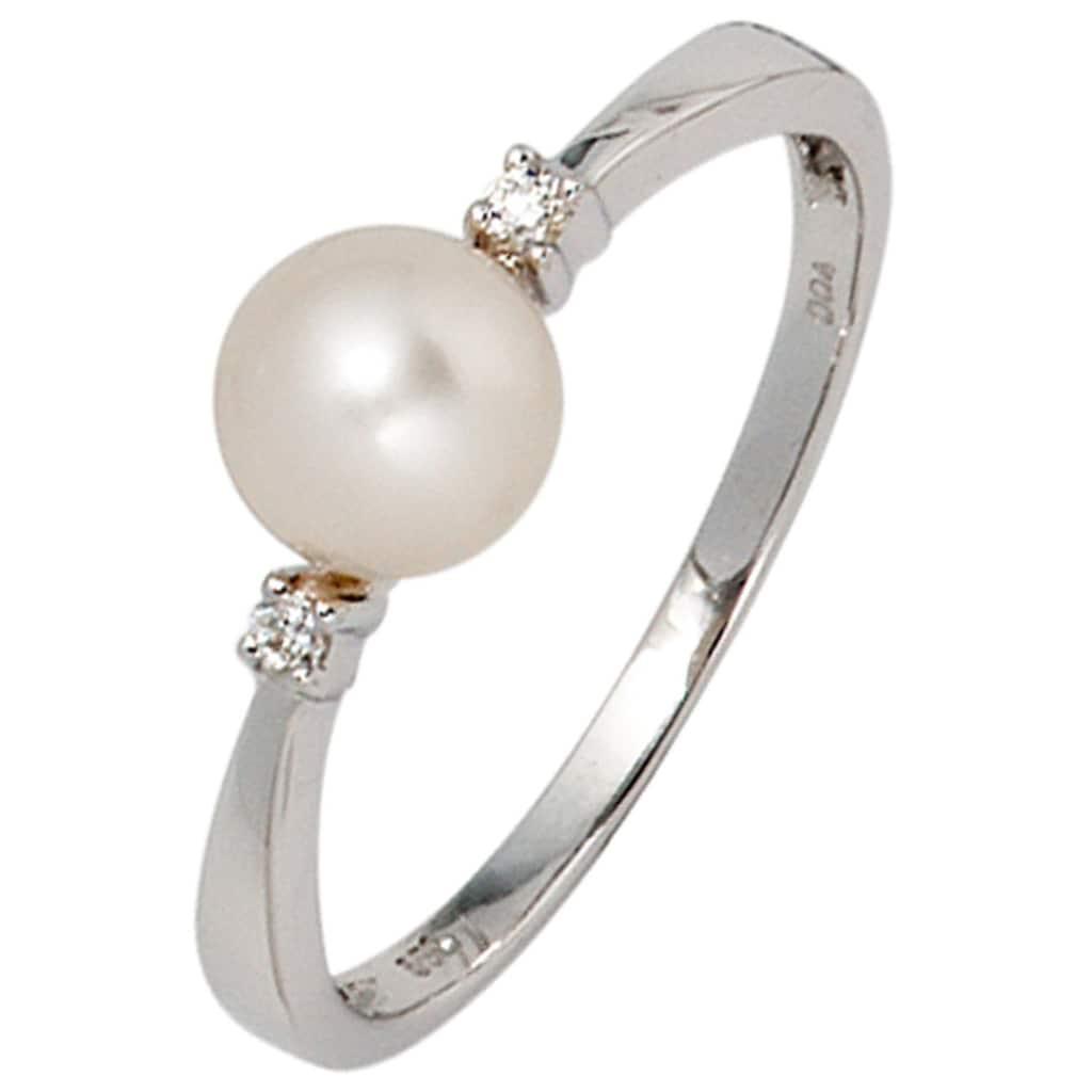 JOBO Perlenring, 585 Weißgold Süßwasser-Zuchtperle und 2 Diamanten