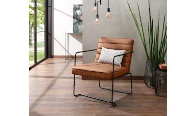 Home affaire Loungesessel »Panama«, mit einem schönen Metallgestell und einem pflegeleichten Kunstleder in Vintage-Optik kaufen