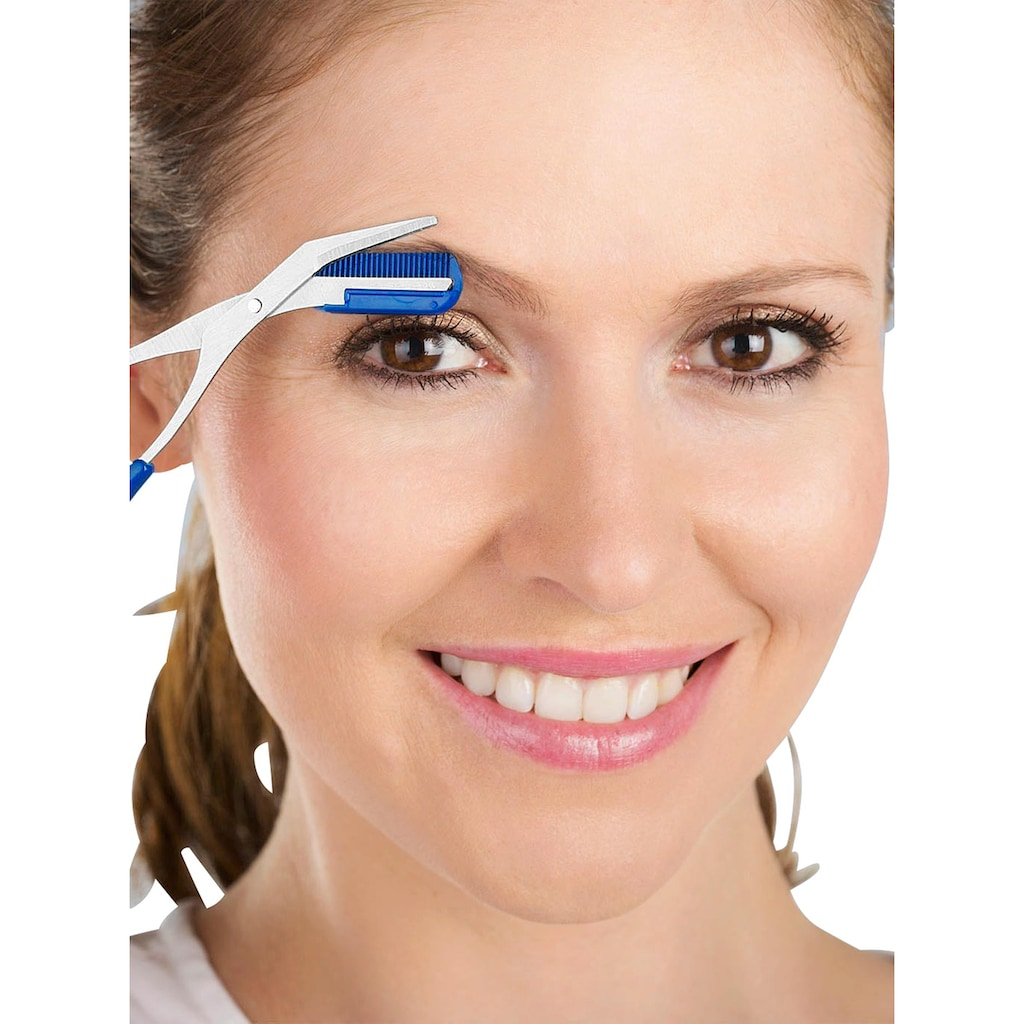 Augenbrauenschere mit integriertem Kamm