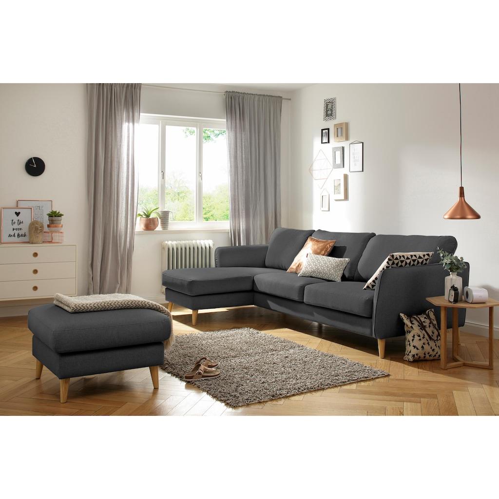 Home affaire Ecksofa »Marseille«, in skandinavischem Stil, in 3 Bezugsqualitäten, mit Holz-Beinen