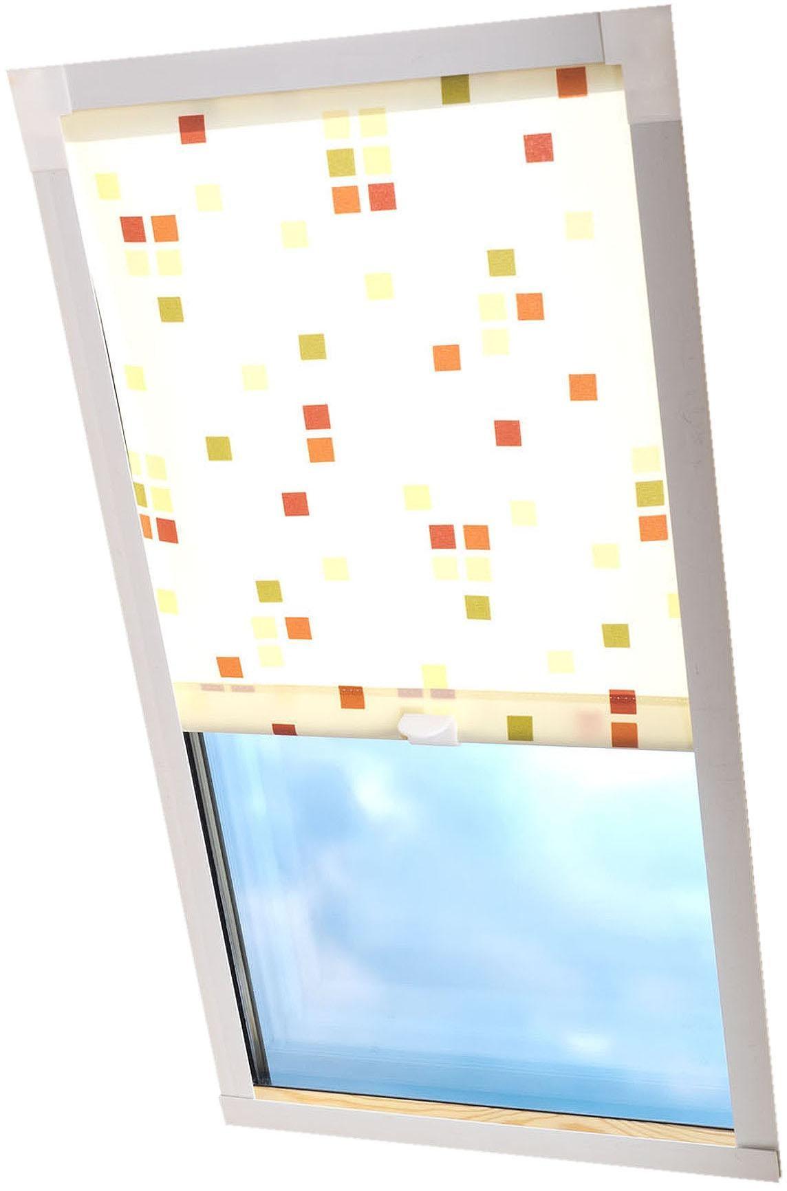Dachfensterrollo Dekor Liedeco Lichtschutz in Führungsschienen Wohnen/Wohntextilien/Rollos & Jalousien/Rollos/Dachfensterrollos