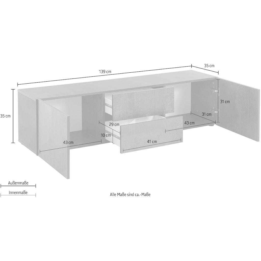 borchardt Möbel Lowboard »Sophia«, Breite 139 cm mit 2 Schubkästen, stehend und hängend