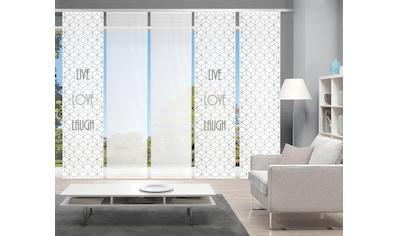 Vision Schiebegardine »LIVE LOVE LAUGH 5er SET«, Bambus-Optik, Digital bedruckt kaufen