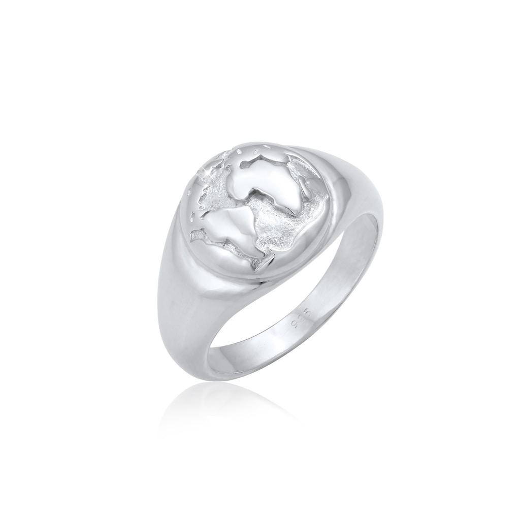 Elli Siegelring »Siegelring Globus Welt Reisen Trend 925 Silber«