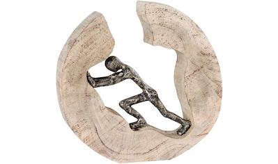Casablanca by Gilde Dekofigur »Skulptur Pushing«, Dekoobjekt, Höhe 29 cm, aus Metall und Holz-Baumscheibe, Wohnzimmer kaufen