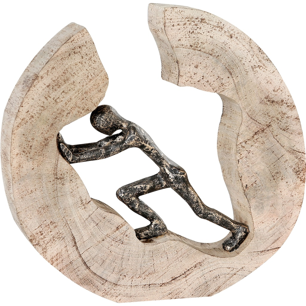Casablanca by Gilde Dekofigur »Skulptur Pushing«, Dekoobjekt, Höhe 29 cm, aus Metall und Holz-Baumscheibe, Wohnzimmer