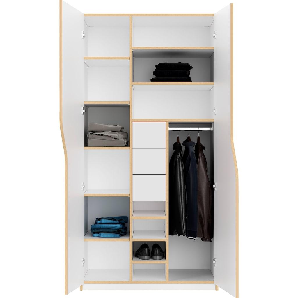Müller SMALL LIVING Kleiderschrank »PLANE Ausstattung Nr. 6«, inklusive 3 Schubladen und einer Kleiderstange für Blusen und Blazer oder Kinderbekleidung