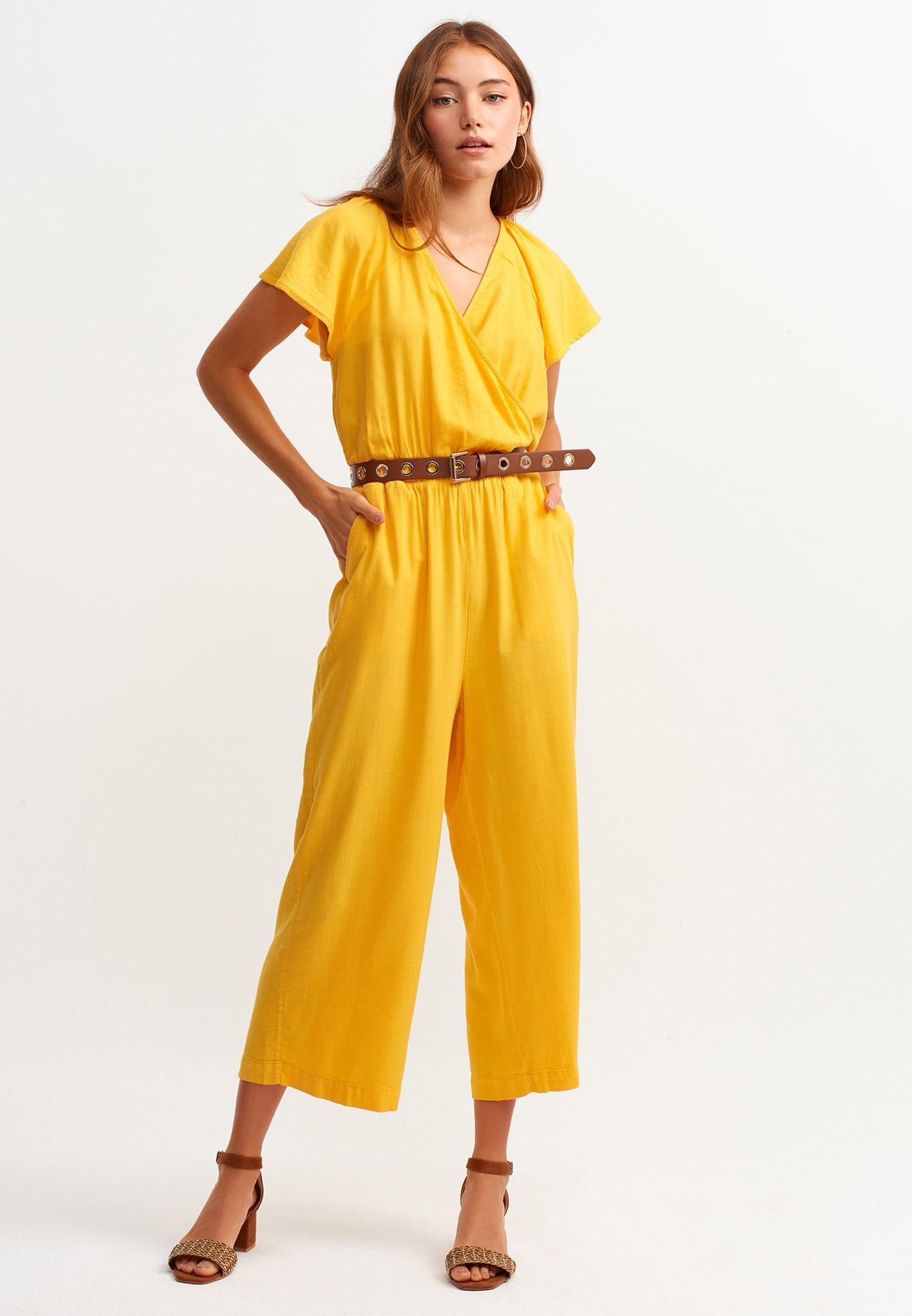 OXXO Overall, mit Volant Ärmeln gelb Damen Overalls H-Typ Figurtyp-Beratung Overall