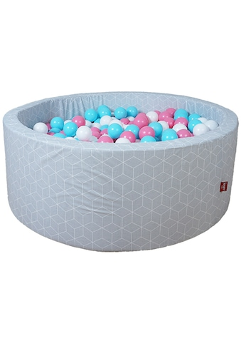 Knorrtoys® Bällebad »Geo, cube grey«, mit 300 Bällen rose/creme/lightblue; Made in Germany kaufen