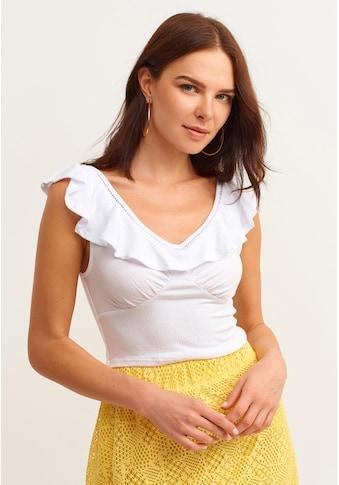 OXXO V-Shirt, mit Volant Details und Schnürdetail kaufen