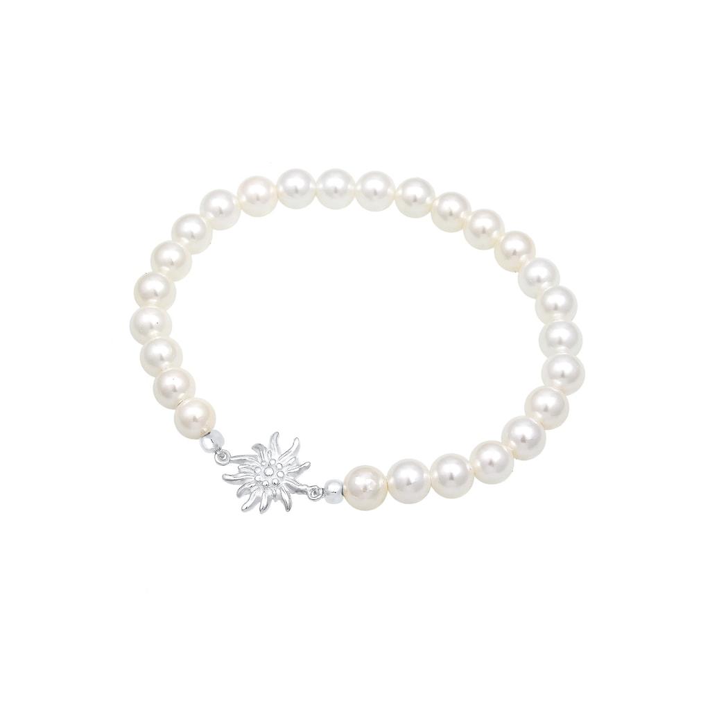Elli Perlenarmband »Edelweiß Perlen Oktoberfest Trachten 925 Silber«