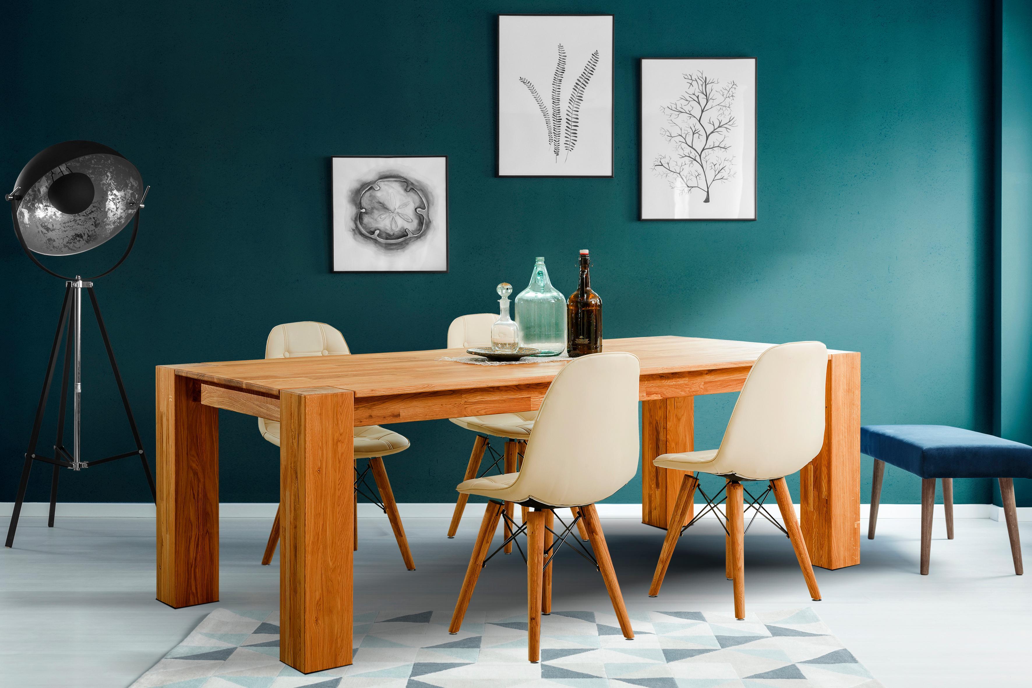 Home Affaire Essgruppe »Juna«, bestehend aus einem massivem Eichentisch und Kunstleder gepolsterete Esszimmerstühle (5-tlg.)