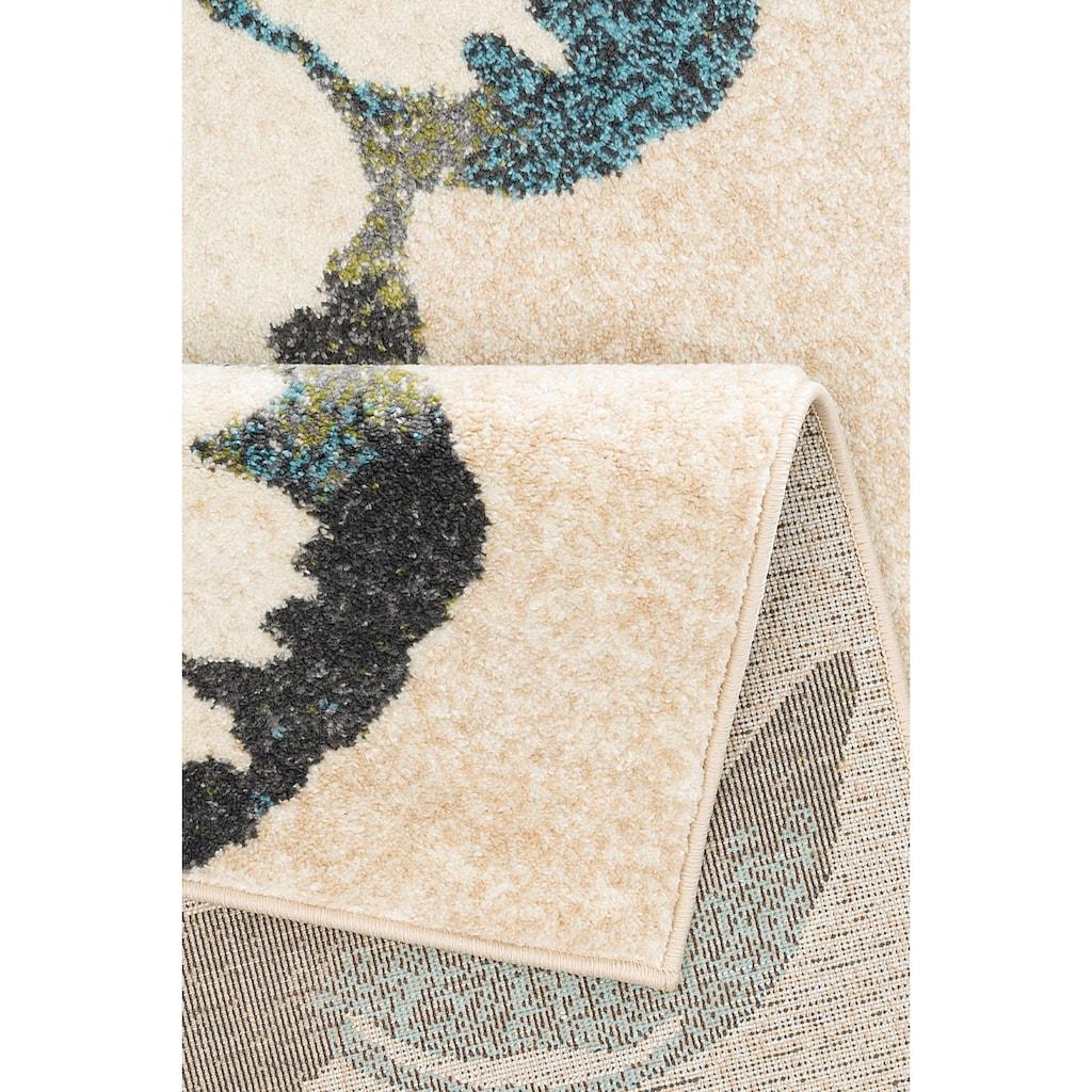 Home affaire Teppich »Kalena«, rechteckig, 10 mm Höhe, mit Blumen-Design, Wohnzimmer