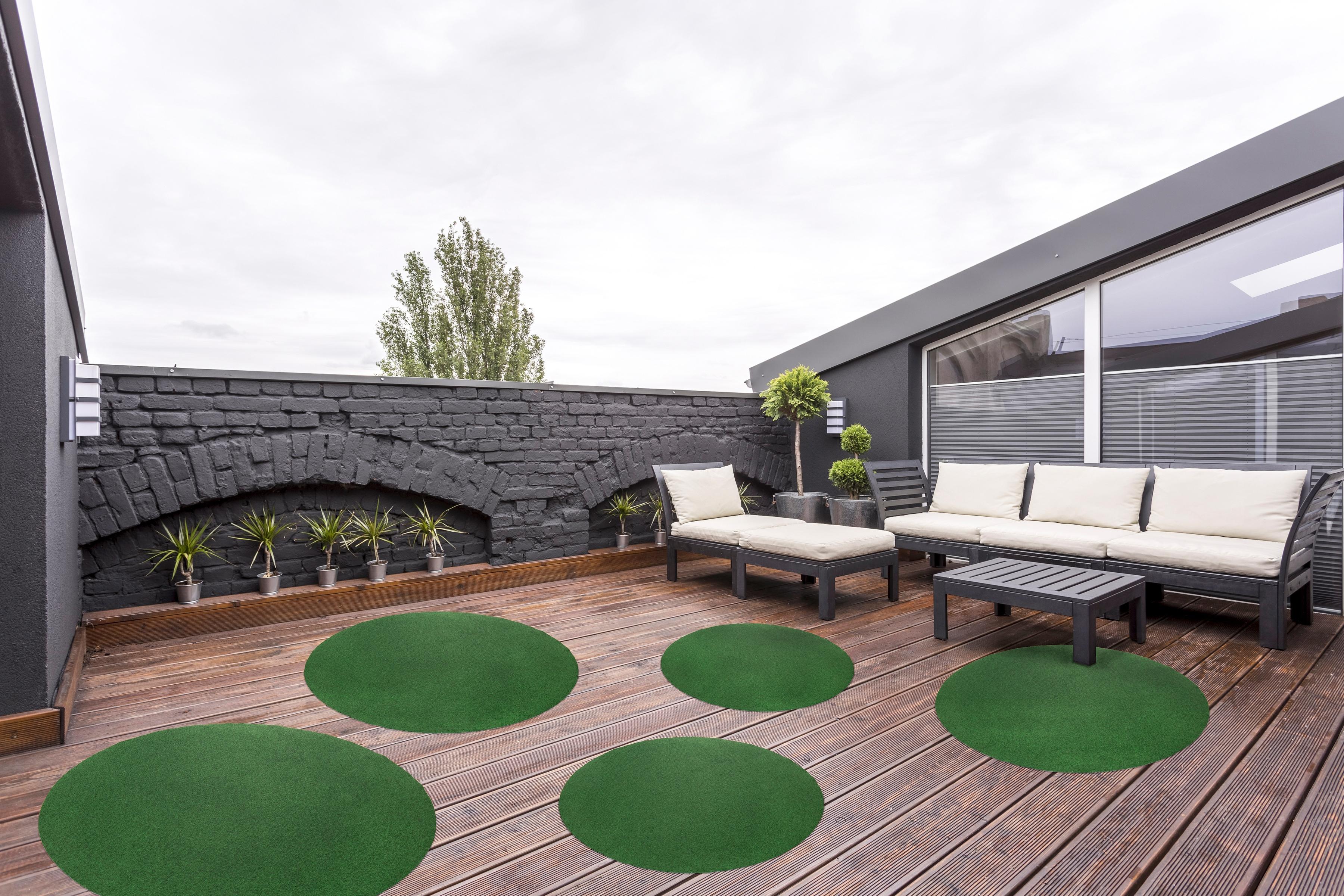 Andiamo Rasenteppich Kunstrasen Field, rund, 4 mm Höhe grün Outdoor-Teppiche Teppiche
