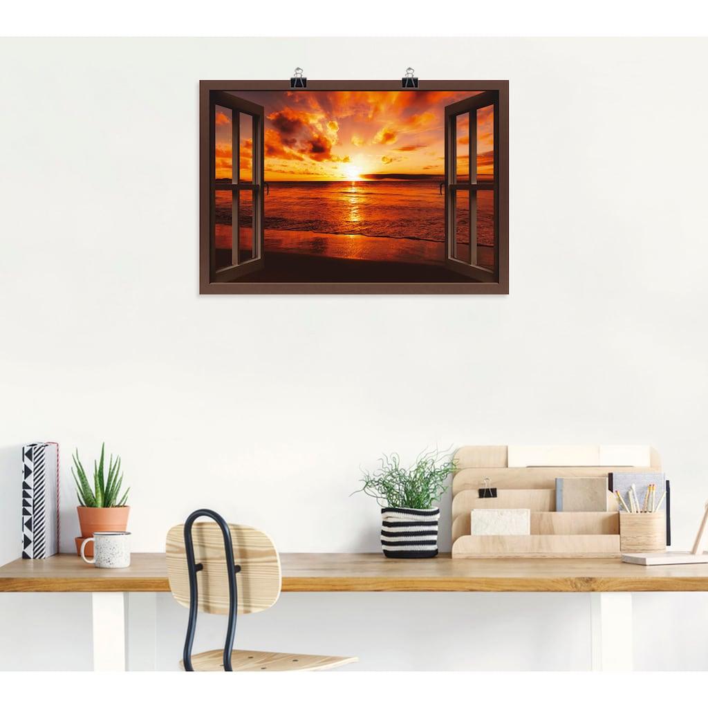 Artland Wandbild »Fensterblick Sonnenuntergang am Strand«, Fensterblick, (1 St.), in vielen Größen & Produktarten -Leinwandbild, Poster, Wandaufkleber / Wandtattoo auch für Badezimmer geeignet
