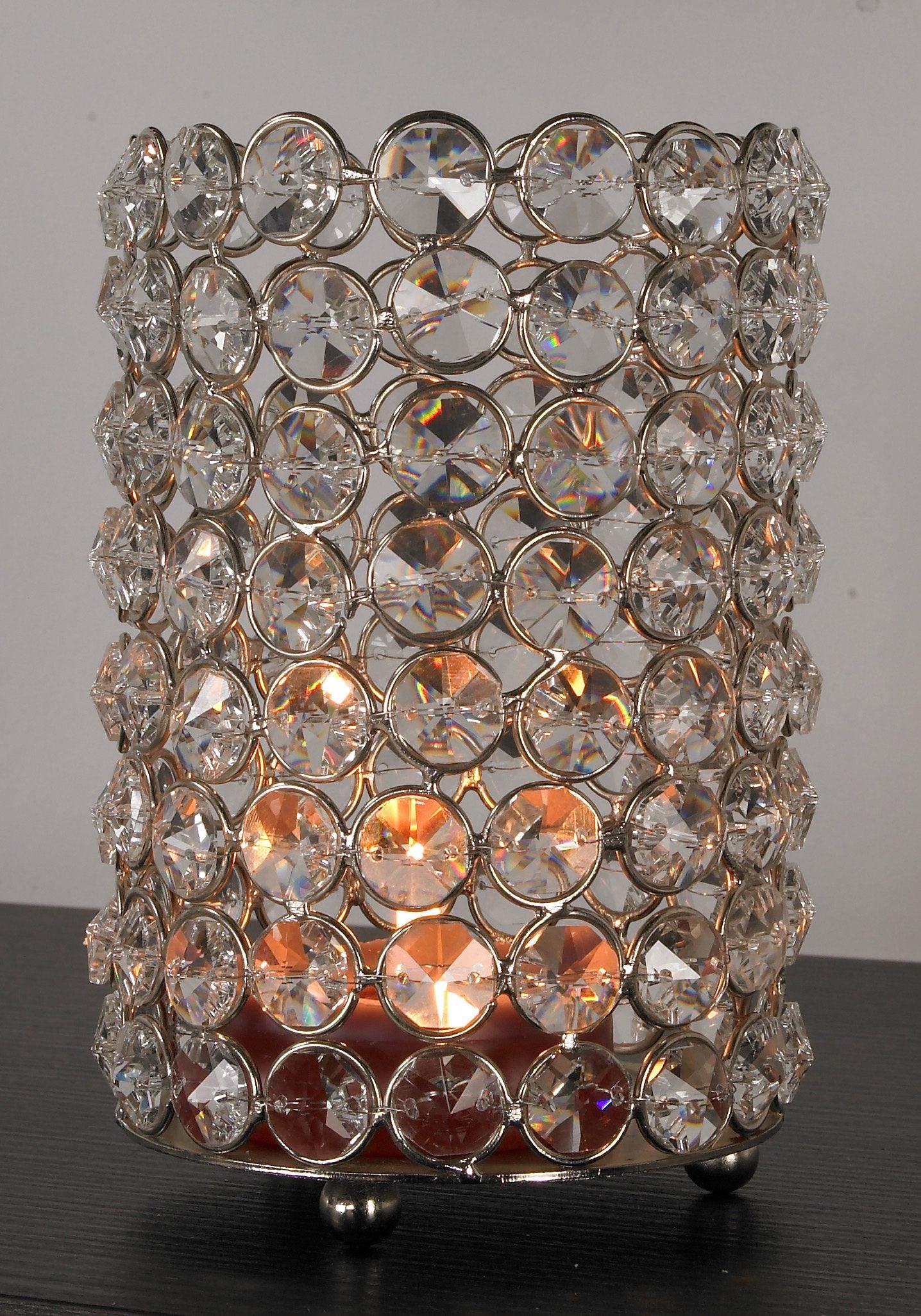 Home affaire Kerzenständer Kristall silberfarben Kerzenhalter Kerzen Laternen Wohnaccessoires