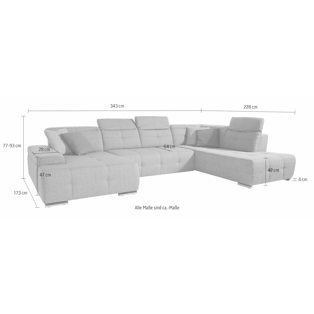 sit&more Wohnlandschaft, wahlweise mit Bettfunktion, inklusive Kopfteilverstellung