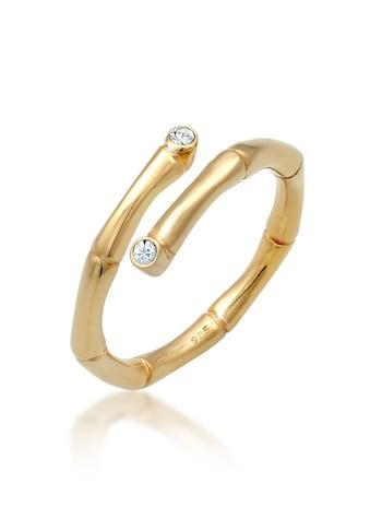 Elli Fingerring »Bambus Swarovski® Kristalle offen 925 Silber« kaufen