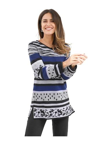 Classic Basics Longpullover mit Tierfell - Dessin und Rautenmuster kaufen