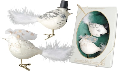 """Krebs Glas Lauscha Weihnachtsbaumklammer """"Vogel Brautpaar"""" (2 - teilig) kaufen"""