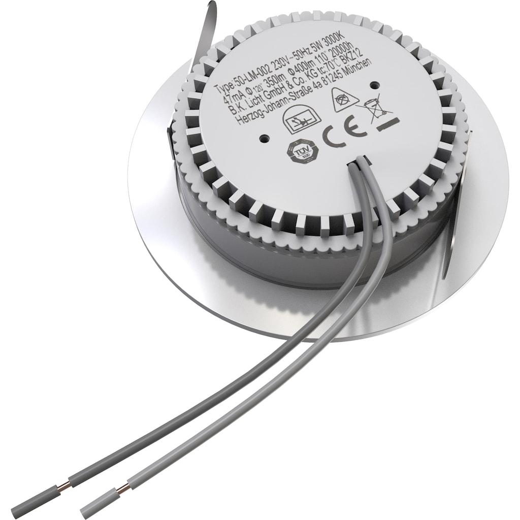B.K.Licht LED Einbaustrahler, LED-Board, 5 St., Warmweiß, LED Bad Einbauleuchte Decken-Spot ultra-flach Einbauspot Lampe IP44 inkl. 5W 400lm