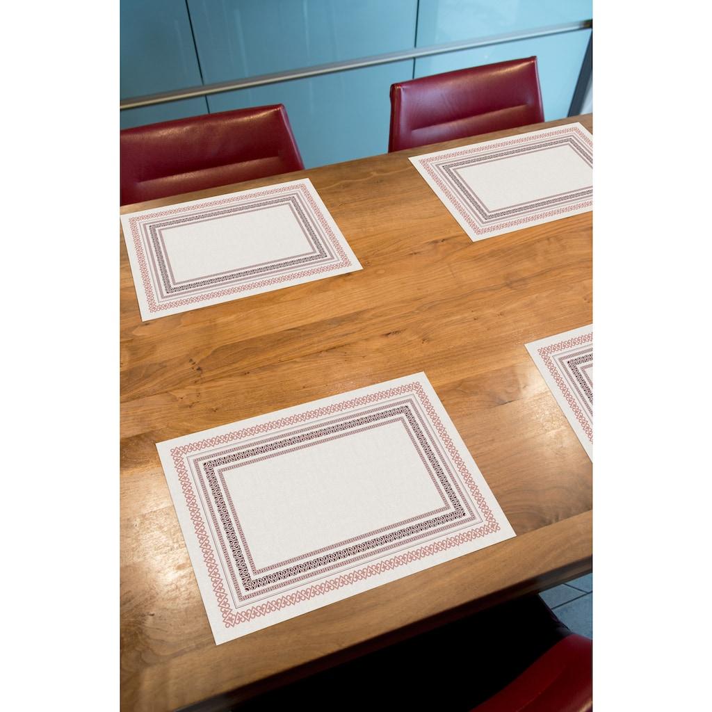 Contento Platzset »Matteo«, (Set, 4 St.), für den Innen- und Außenbereich, wasserabweisend, rot-naturweiß, 30x40 cm