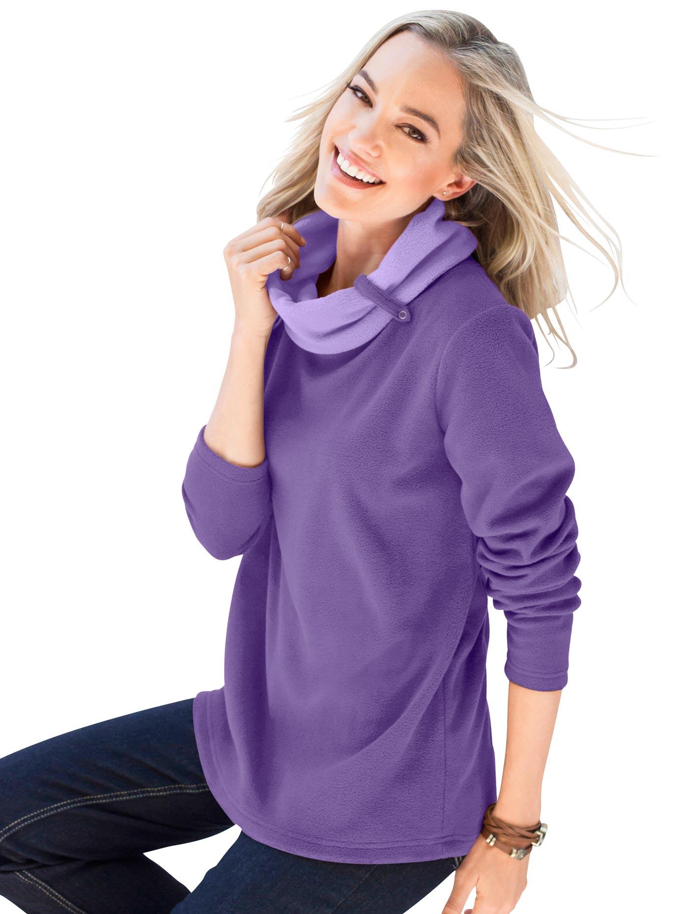 Classic Basics Fleece-Shirt mit doppellagigem Rollkragen | Bekleidung > Sweatshirts & -jacken > Fleeceshirts | Lila | Classic Basics