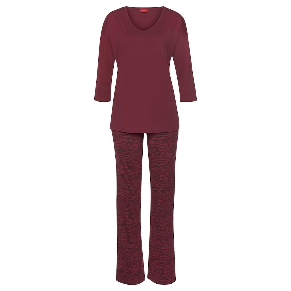 s.Oliver Bodywear Pyjama, lange Hose mit Animal-Print