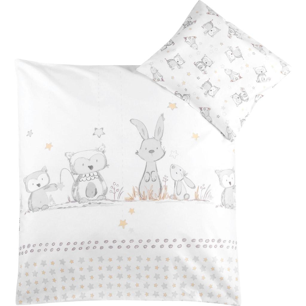 Julius Zöllner Kinderbettwäsche »Häschen und Eule«, mit Hasen und Eule