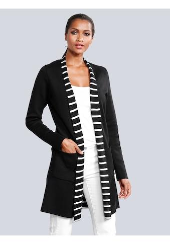 Alba Moda Strickjacke mit dekorativem Streifen-Dessin im Innenteil kaufen