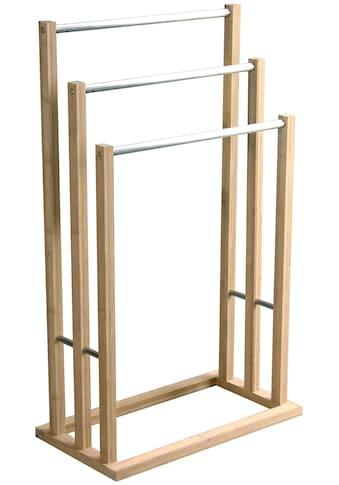 MSV Handtuchständer »Edelstahl und Bambus«, 3 Stangen, 48 x 26 x 84 cm kaufen