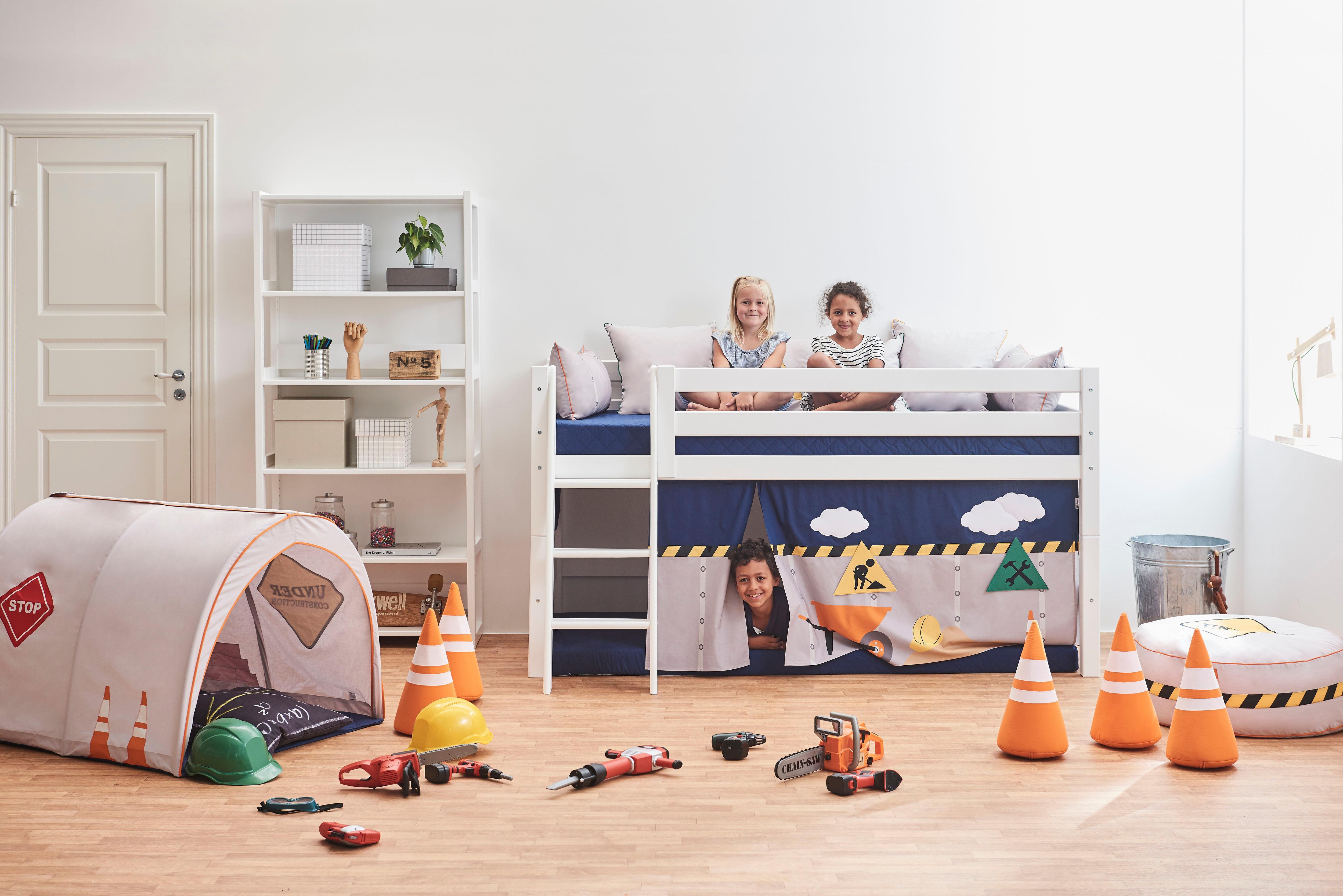 Hoppekids Hochbett Construction inkl Vorhang Matratze und Rollrost
